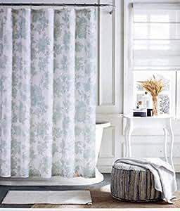 Tommy Hilfiger Rideau de douche en tissu vert clair motif floral sur blanc –-tyburnia