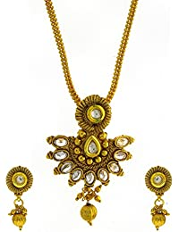 Anuradha Art Gold Finish Styled With White Colour Stones Traditional Pendant Set For Women/Girls - B0745FYXLG
