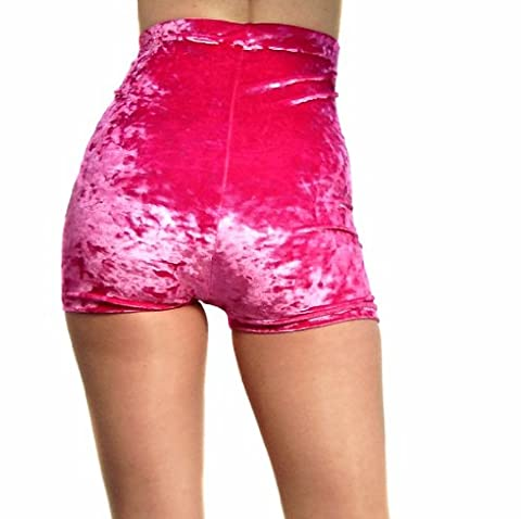 Madame Fantasy Sexy High Waisted Neon Pink Crushed Velour Shorts / Hot Pants Size: X Large