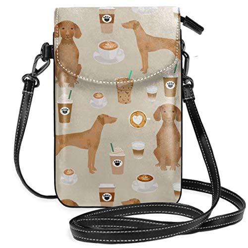 best pillow Vizsla Coffee Cafe Dog Pet Breedstan Lightweight Leather Phone Purse, Small Crossbody Bag Mini Cell Phone Pouch Shoulder Bag For Women