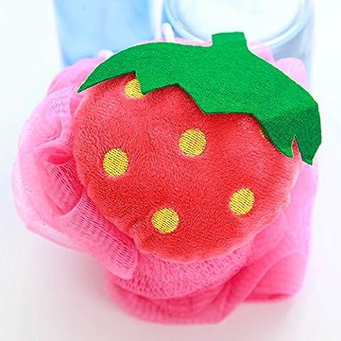 Tutoy Candy Color Fruit Shape Bath Ball Serviettes Corps Douche Eponge Nylon -Strawberry