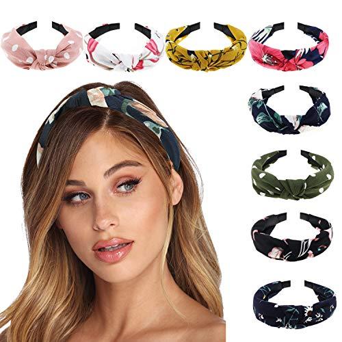 DRESHOW Bandas para la cabeza para la mujer Bandas para el pelo Bandas para el cabello Accesorios para arcos (Paquete de 8 bandas para la cabeza lisas impresas)