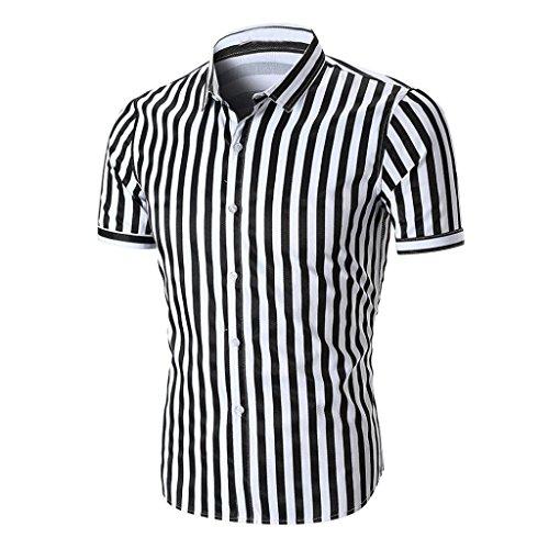 Preisvergleich Produktbild Basic T-Shirt Herren Bluse Mode 2018 Sommer Sonnena Herren Hemd Formal Tops Beiläufige Kurzarmhemd Spitzen Dünne Kurzarm Bluse Gestreifte Oberteile Herren Slim Stehkragen Schwarz / Rot (S,  Schwarz)