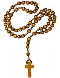Rosario de madera en tres diferentes colores marrón y negro cuentas de madera collar de Cruz, color: marrón