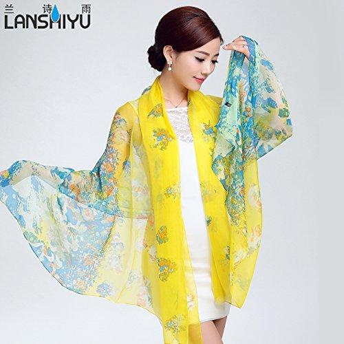 Foulards en soie, Choo hiver foulards en soie sauvage coréenne châles en soie sauna masque à double usage en jaune vif 791458 , foulard 791458 jaune vif