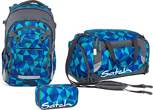 Satch Set di 3 accessori per la scuola, con zaino, Match Mint Crush 9 A1 menta polygon