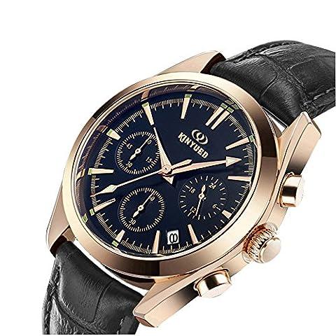 Hommes Montres -Quarz Analogique -chronographe -Bracelet Cuir