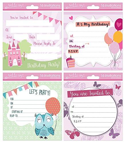Sólo para decir las niñas fiesta de cumpleaños tarjeta de invitación con sobres (Pack de 16)