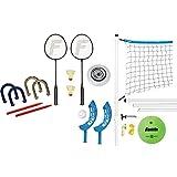 Franklin Outdoor-Set - Spiele-Combo mit 5 Spielen I Volleyball-Netz inkl. Befestigung, Ball & Pumpe I Neon-Frisbee I Beachball-Set I Flip-Wurfspiel I Badminton-Set I Outdoor-Spiele für Erwachsene