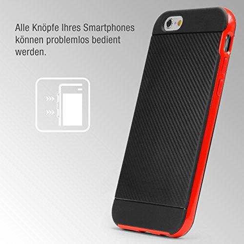Urcover® Apple iPhone 6 Plus / 6s Plus Handy-Hülle [ Carbon Optik ] Hybrid 2 teiliges Case SCHWARZ TPU PC Cover Case Etui Schutz-Hülle Handyschutz Rot