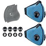 Staubschutzmaske Atemschutzmaske Aktivkohle, Mundschutzmaske staubdichtz Filtration Abgas PM2.5 für Lauf Radfahren und Outdoor-Aktivitäten (Blau 2stück)