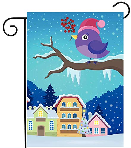 Seasonal Lovely Birds Animals with Santa Hat On Winter Snow Tree Garden Yard Flag Double Sided, Polyester Welcome House Flag Banners for Patio Lawn Outdoor Home Decor(Size: 12.5inch W X 18 inch H)