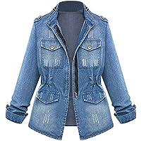 Hanomes Damen pullover, Plus Size Casual Damen Damen Denim Oversize Jeans Kette Jacke Tasche Mantel preisvergleich bei billige-tabletten.eu