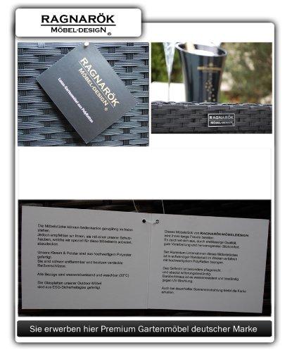 Gartenmöbel PolyRattan Essgruppe Tisch mit 6 Stühlen & 4 Hocker DEUTSCHE MARKE — EIGNENE PRODUKTION Garten Möbel incl. Glas und Sitzkissen Ragnarök-Möbeldesign - 9