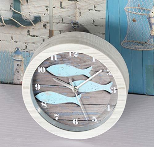 YHNAO Wecker, Metall Textur Aquarium Miniatur Bedside Desktop Uhr -