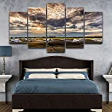 mmwin Wall Art Modular Modern Canvas Poster Home Decor 5 Piece/Pcs Airport Landscape HD Impreso Living Room Pictures Painting
