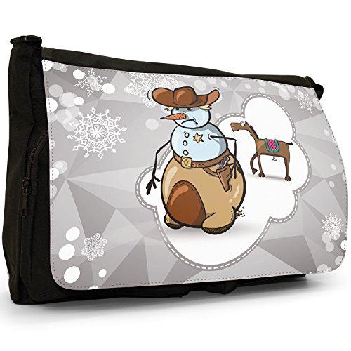 Schneemann Cowboy Sheriff-Dienstmarke Große Messenger- / Laptop- / Schultasche Schultertasche aus schwarzem Canvas