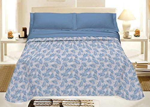 Capitan Casa Couvre-lit piqué en 100 % coton ligne Best Collection Fantaisie Palmiers 80_x_190_cm bleu ciel