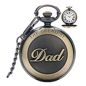 Herren-Taschenuhr, Vintage-Stil, Quarzuhr mit Kette, mit römischen Ziffern für den Tollsten Vater, Großvater/Opa – Retro-Geschenk zum Geburtstag oder Vatertag