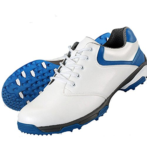 PGM Spikes Herren Golf Schuhe - Patent, griffigen, mircrofiber PU-Leder, Schnürschuh, wasserdicht 43 Weiß/Blau