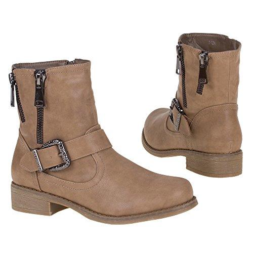 Damen Schuhe, 5129, STIEFELETTEN Khaki