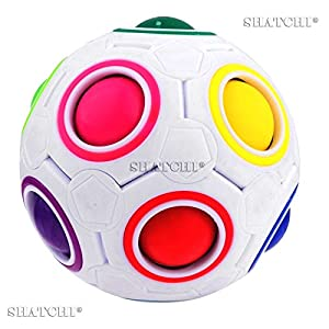 Shatchi 11014-FIDGET-BALL-10pcs 10pcs Regalos de cumpleaños Fun Magic Rainbow bola rompecabezas Cubo Fidget Educativo Juguete Bulk, Multi