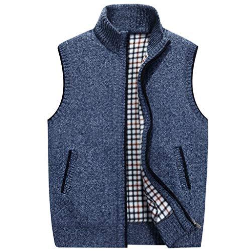 Skxinn Fleeceweste Weste mit Stehkragen für Herren, Männer Herbst Winter Weste Outdoor Vest Fleece-Futter Cardigan Blouse(Dunkelblau,Large)