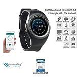 simvalley Mobile Smart Uhr: 2in1-Uhren-Handy & Smartwatch für iOS & Android, Rundes Display (Handy Watch)
