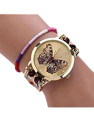 Sannysis® Tejida hecha a mano pulsera trenzada mariposa Dial Quarzt Reloj Para mujeres de la muchacha Naranja