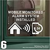 6 x MOBILE Monitored Alarm System Installed Stickers-130mm White on Clear Internal Window Appllication-24hr Security Warning Signs for Home, House,