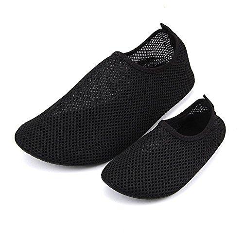 iBaste Chaussures de bain/sport aquatique pour enfants et adultes avec semelle en caoutchouc antidérapante Noir