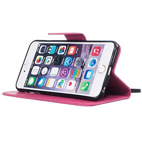 Custodia Pelle per iPhone 6 Plus 5.5,Simpatico Cartone Animato Modello Case per iPhone 6S Plus,BtDuck Ultra Slim Morbida PU Leather Flip Libro Bookstyle Wallet Portafoglio Supporto Stand Porta Carte C #4 Rosa Caldo