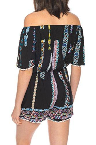 Dress Sheek Damen Jumpsuit Kurz Playsuit Sommer Spitze Luftig Mehrfarbig Gemustert Overall R211 - Schwarz