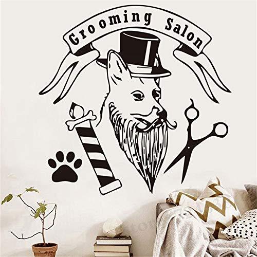 Mode Pet Grooming Salon Wandaufkleber Hund Mit Hut Pfote Schere Decals Für Pet Shop Home Art Decor ~ 1 86 * 88 cm