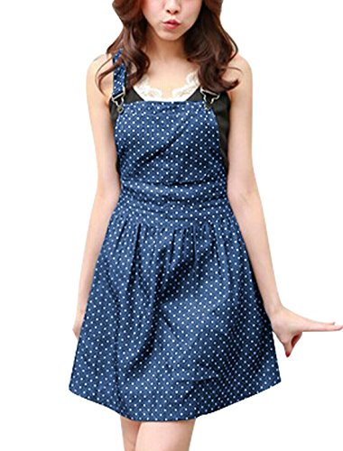 Allegra K Damen Gepunktetes Muster Verstellbare Schulterriemen Denim Overall Kleid Blu scuro
