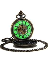 SEWOR Vintage bronce flores para hombre reloj de bolsillo luminoso caso mecánica mano viento