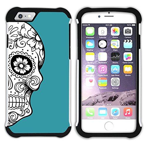 Graphic4You Mexikanische Zuckerschädel Tod (Wasserblau) Hart + Weiche Kratzfeste Hülle Case Schale Tasche Schutzhülle für Apple iPhone 6 Plus / 6S Plus Türkis