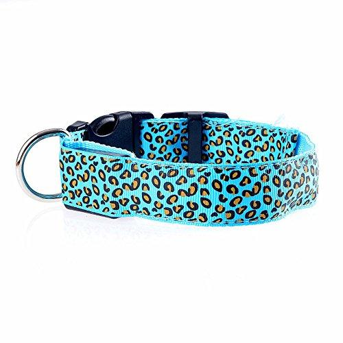 QIjinlook Welpen Hundehalsbänder, LED-Leopard-Glühen-Licht-Halskette, Nylon WaterproofWear Durable Resistant, Verstellbare Halsbänder für kleine, mittlere und große Haustiere (L, Blau)