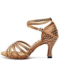 HCCY Zapatos de Baile Latino, para Mujer Adulta, Zapatos de tacón Alto, Zapatos