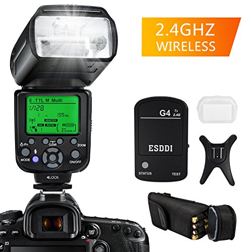 ESDDI E-TTL Flash Speedlite para Canon, Kit Profesional de Flash con Disparador de Flash Inalámbrico, 1/8000 HSS Flash Inalámbrico Speedlite GN58 2.4G Radio Inalámbrico Master Slave para Canon DSLR