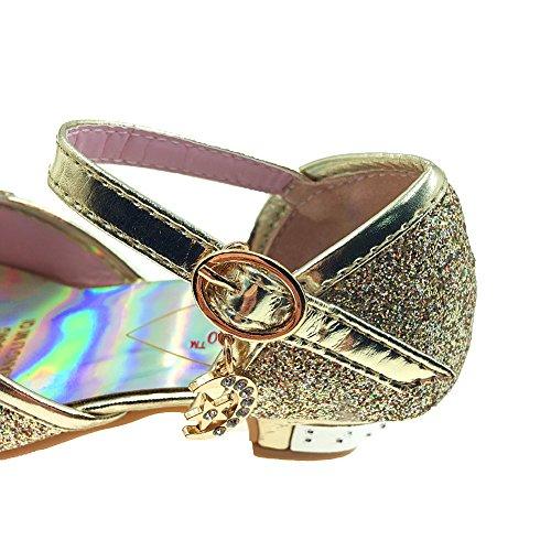 Tyidalin Sandales Ceremonie Fille, Chaussure à Talon Enfant Ballerine Princesse Paillettes pour Mariage Déguisement Or