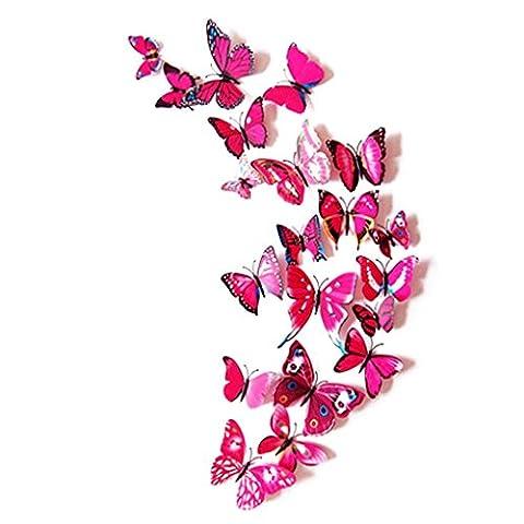 Wand-Aufkleber, Lanspo Spiegel Wandaufkleber 12pcs DecalWall Aufkleber Aufkleber Schmetterlinge 3D Spiegel Wand Kunst Dekor Schlafzimmer, Wand, Schreibtisch, Kühlschrank Dekoration (C)