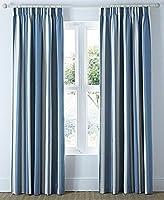 "Mali Striped Blue Beige Cotton Blend Lined 46"" X 72"" - 117cm X 183cm Pencil Pleat Curtains by Curtains"