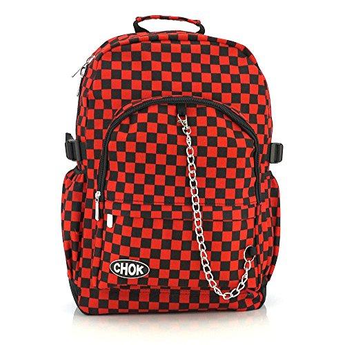 Negro y Rojo de cuadros Mochila Bolsa de monopatín, con protección de portátiles | Escuela College Viaje Trabajo | cuadros Rock fangbanger Emo Skate | Chok