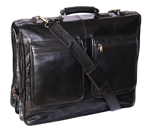 Echte Luxus Leder Anzug Kleidersäcke A112 Schwarz Travel Cabin Bag - Leder-reise-kleidersack