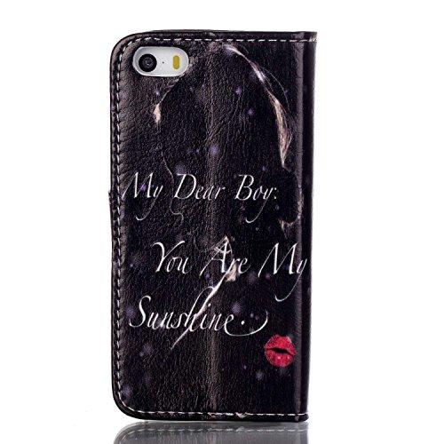 iPhone 5C Custodia, iPhone 5C Custodia, toyym Custodia a portafoglio in pelle PU con chiusura magnetica, scomparto per carte di credito, motivo 3d Full Body protezione Custodia a fondina con custodi Red lips