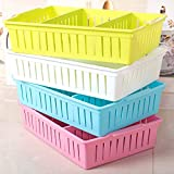 #10: Virginpeek Pen Pencil Stand Plastic Storage Box Table Office Stationary Items Accessories Organizer for The Home Kitchen Set of 4 LxBxH 37x25x8