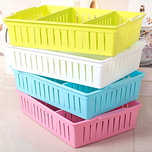 Virginpeek Pen Pencil Stand Plastic Storage Box Table Office Stationary Items Accessories Organizer for The Home Kitchen Set of 4 LxBxH 37x25x8