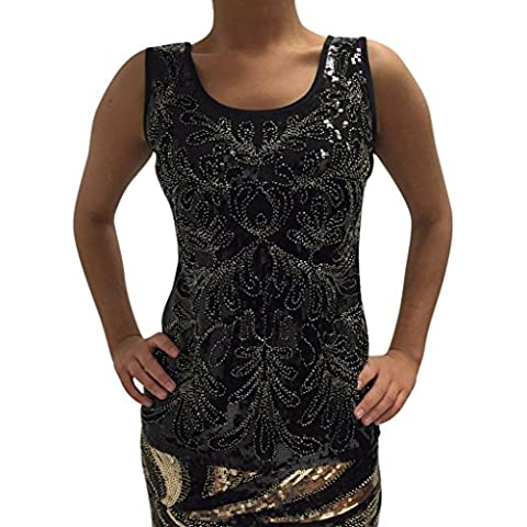 Delle signore delle donne senza maniche in paillettes elastico Double Layer Moda Party Night out Migliori Taglia 6 8 10 12 14