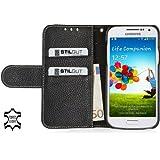 """StilGut Ledertasche """"Talis"""" Book Type Case für Samsung Galaxy S4 Mini (i9195) aus echtem Leder mit Fach für Kredit- oder Visitenkarten in Schwarz"""